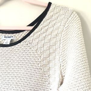 Old Navy Sweaters - Old Navy | Cream Knit Sweater Faux Leather Details
